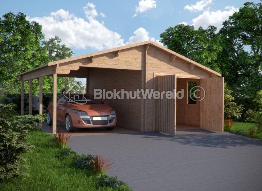 Garage Met Carport : Houten garage en carport flevoland m mm blokhutwereld